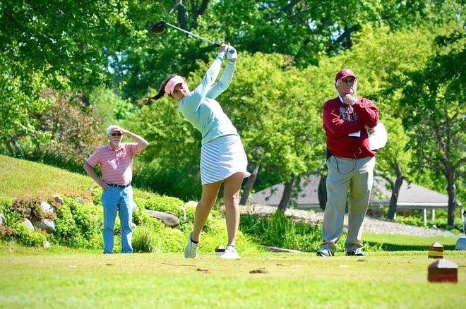 Recent Marysville graduate Madeline Blum tees off during the Golf Association of Michigan Junior Kickoff tournament on Monday, June 15, 2020, at Washtenaw Golf Club in Ypsilanti.
