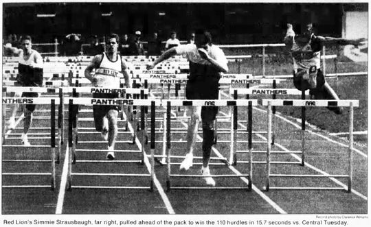Red Lion's Simmie Strausbaugh, far right, pulled ahead of the pack to win the 110 hurdles in 15.7 seconds vs. Central in a York Daily Record April 7, 1993 newspaper photo.