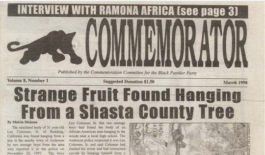 """An issue of the Commemorator newspaper was dedicated to the death of Leo Coleman Jr. in March 1998. """"Strange Fruit"""" is a reference to a Billie Holiday song about lynchings."""