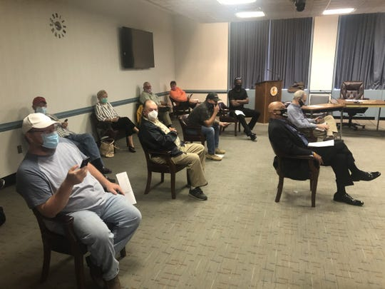 Crowd able to attend the Wicomico County Council's regular meeting June 16, 2020, was limited to about 15 inside the chambers, while more stretched to the hallway and the ground floor while adhering to social distancing in Salisbury, Maryland.