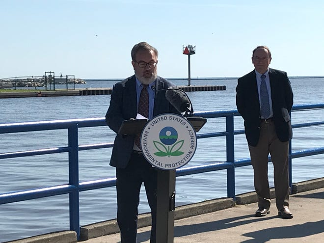 Rep. Tom Tiffany watches EPA Administrator Andrew Wheeler speak at South Pier Tuesday, June 16, 2020.