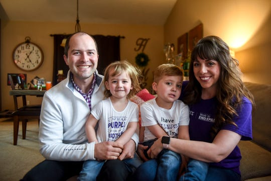 Tom, Graham, Hayden and Karen Cota pose for a portrait on Tuesday, March 17, 2020 in Sioux Falls, S.D. The family advocates for epilepsy awareness.