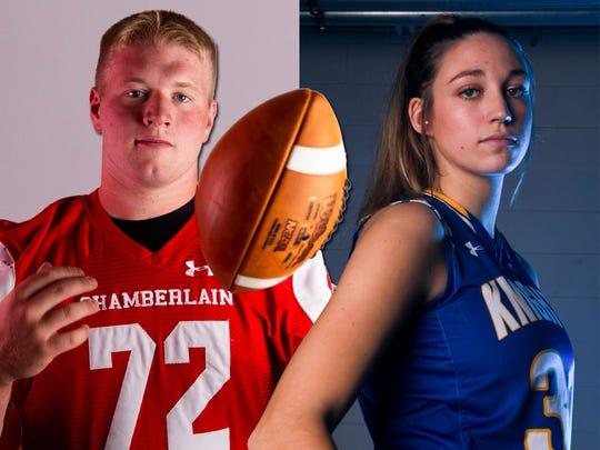 2019-20 Argus Leader Athletes of the Year: Chamberlain senior Nash Hutmacher and O'Gorman senior Emma Ronsiek.