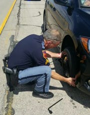 An El Pasoan wanted to thank El Paso Police Sgt. Ron Martin publicly for changing her car's flat tire Sunday. The video went viral.