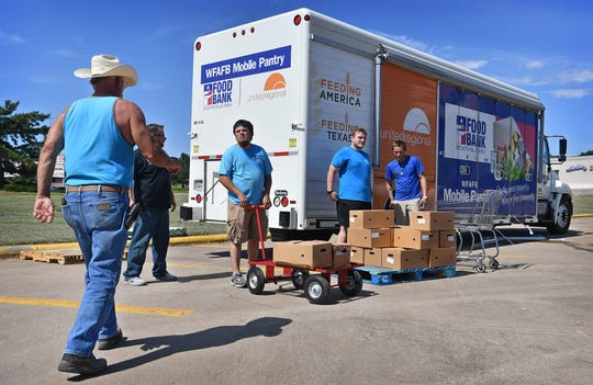 The Wichita Falls Area Food Bank Mobile Pantry distributed 260 cases of food and 280 cases of produce Tuesday at the corner of Loop 11 and Seymour Highway. The nonprofit may receive funding for COVID-related help.