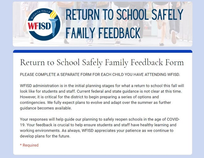 The WFISD is seeking feedback from families about what they would like to see in place for a safe return to classrooms in the fall amid the COVID-19 situation.