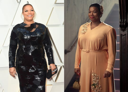"""This combination photo shows Queen Latifah at the Oscars in Los Angeles on Feb. 24, 2019, left, and the rapper-actress portraying """"Gone With the Wind"""" actress Hattie McDaniel in a scene from the Netflix series """"Hollywood."""""""