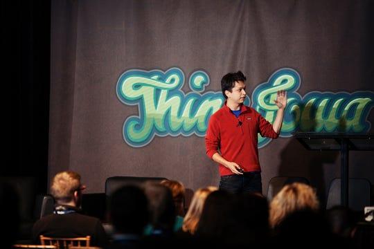 Pinterest CEO Ben Silbermann in 2011 speaking at Thinc Iowa in Des Moines.