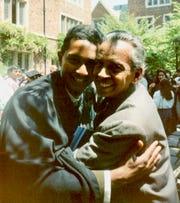 Ray Jayawardhana and his father, Somapala Jayawardhana, at his college graduation in New Haven, Connecticut, in May 1994.