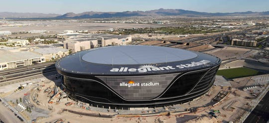 Vista aérea del Allegiant Stadium en Las Vegas.