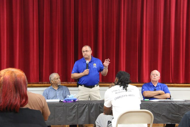 Carter County Sheriff Chris Bryant addresses the crowd during a Tuesday evening panel discussion on policing practices and racial inequality at the HFV Wilson Community Center in Ardmore.