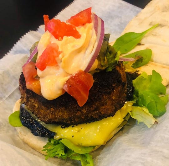 At Alternative Plate in Lake Como, the Krabby Pattie is made with hearts of palm, chickpeas, beans, seaweed and spices. Try it over salad or on a bun with coconut horseradish Sriracha tartar sauce, a grilled Portobello mushroom and smoked vegan Gouda.