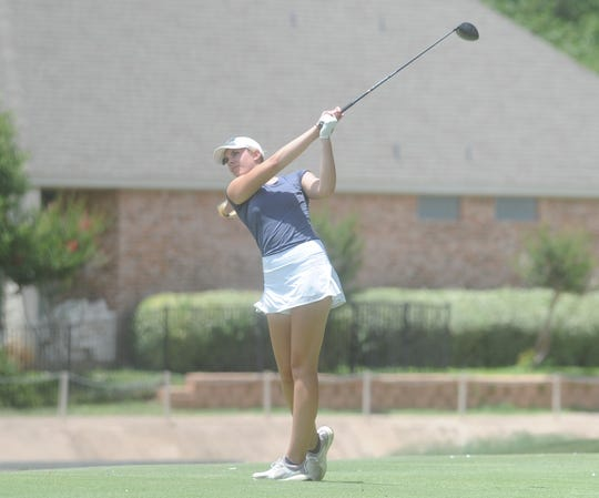 Wylie grad Maddi Olson tees off during the second round of the Texas Junior Golf Tour's West Texas Preview on Tuesday, June 16, 2020, at the Abilene Country Club South course. Olson won the Girls 15-18 division of the tournament.