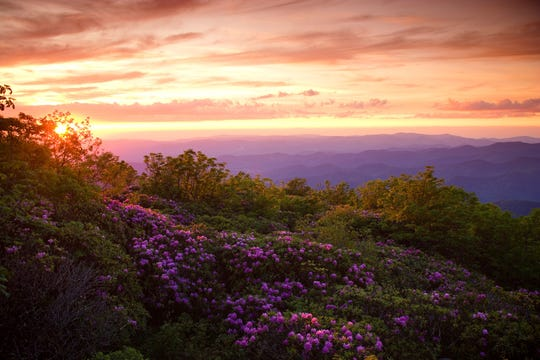 Sun sets in the proposed Craggy National Scenic Area, a 15,000 acre area in Buncombe County that protects old growth, rare and endangered species and scenic views from the Blue Ridge Parkway.