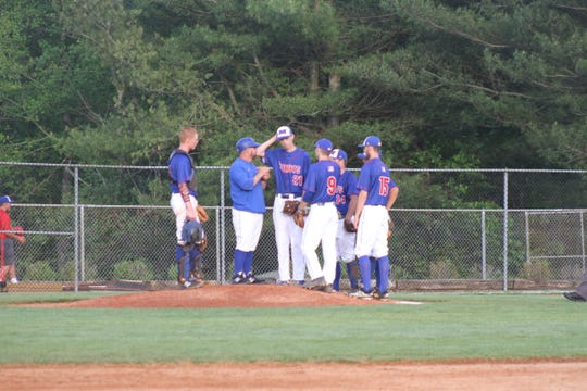 Timothy Wilson, #21, takes the mound in relief during the Patriots 10-9 playoff victory over Walkertown in 2019.