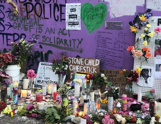 Stonechild Chiefstick's name was written on a memorial in Seattle's Capitol Hill Organized Protest, an on-going demonstration against racism and police brutality.
