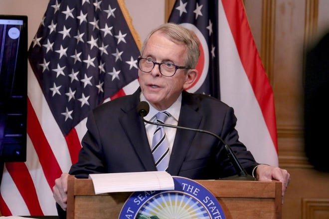Gov. Mike DeWine, pictured during 3/29/20 briefing.