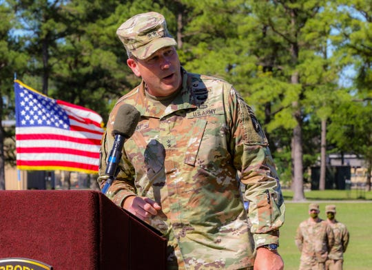 Maj. Gen. Brian Winski, commanding general, 101st Airborne Division (Air Assault) and Fort Campbell, provides remarks during a redeployment recognition event at Fort Campbell, June 11. Approximately 230 Soldiers assigned to the 2nd Battalion, 506th Infantry Regiment, 3rd Brigade Combat Team, 101st Airborne Division (Air Assault) recently returned from a 9-month deployment to multiple locations worldwide.