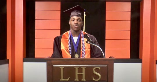 Tyler Farrar, president of the Linden High School Class of 2020, delivering a powerful speech on social and racial justice in the virtual graduation.