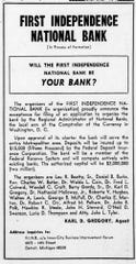 A newspaper clipping announcing the official formation of First Independence Bank.