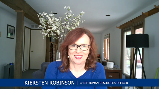 Kiersten Robinson, chief human resources officer, presents to a Ford global town hall from her home in Franklin via Webex on May 28.