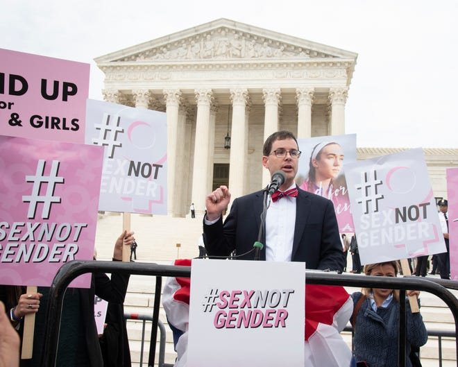 Alliance Defending Freedom Vice President of Appellate Advocacy John Bursch speaking outside of the U.S. Supreme Court after his oral argument on behalf of R.G. & G.R. Harris Funeral Homes on Oct. 8, 2019.