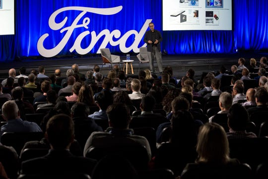 Ken Washington, Ford chief technology officer, talks to hundreds of Ford employees at Ford World Headquarters in January. These sorts of large meetings are no longer allowed by the automaker due to the coronavirus.