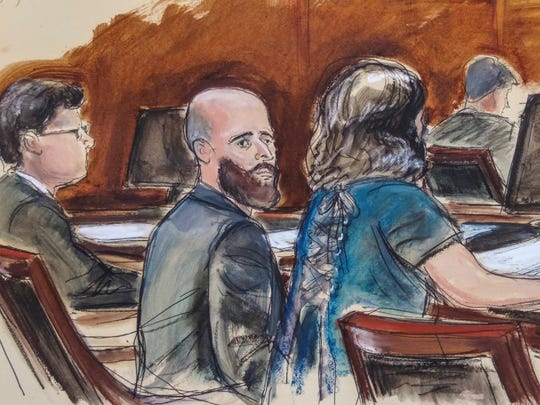 In this courtroom sketch Joshua Schulte, center, is seated at the defense table flanked by his attorneys during jury deliberations, March 4 in New York. A federal jury in Manhattan has heard closing arguments in the espionage trial of Schulte, a former CIA software engineer charged in the largest leak of classified information in the agency's history.