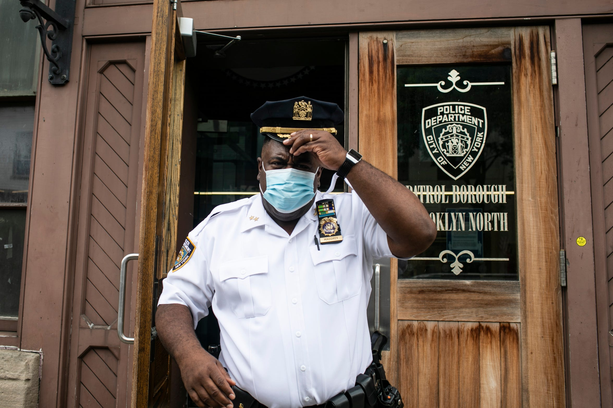 Assistant Chief Jeff Maddrey, leaves the Brooklyn North Patrol Borough, Thursday, June 11, 2020, in the Brooklyn borough of New York.