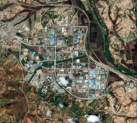 This May 29, 2020, photo provided by Maxar Technologies shows an overview of a shuttered joint industrial park, where an inter-Korean liaison office building is located in Kaesong, North Korea. The North blew up the liaison office building just north of the heavily armed border with South Korea on Tuesday in a carefully choreographed, largely symbolic display of anger that puts pressure on Washington and Seoul amid deadlocked nuclear diplomacy. (Maxar Technologies via AP)