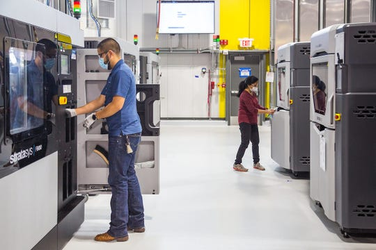 GM used 3-D printers usually utilized for auto production to transition to medical devices.