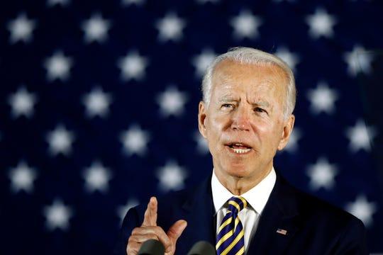 Democratic presidential candidate former Vice President Joe Biden speaks Wednesday, June 17, 2020, in Darby, Pa.