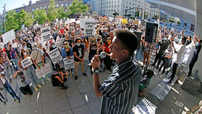 Daud Mumin, 18, addresses a crowd during a rally in Salt Lake City on Tuesday, June 9, 2020. He turned 19 later in the month.