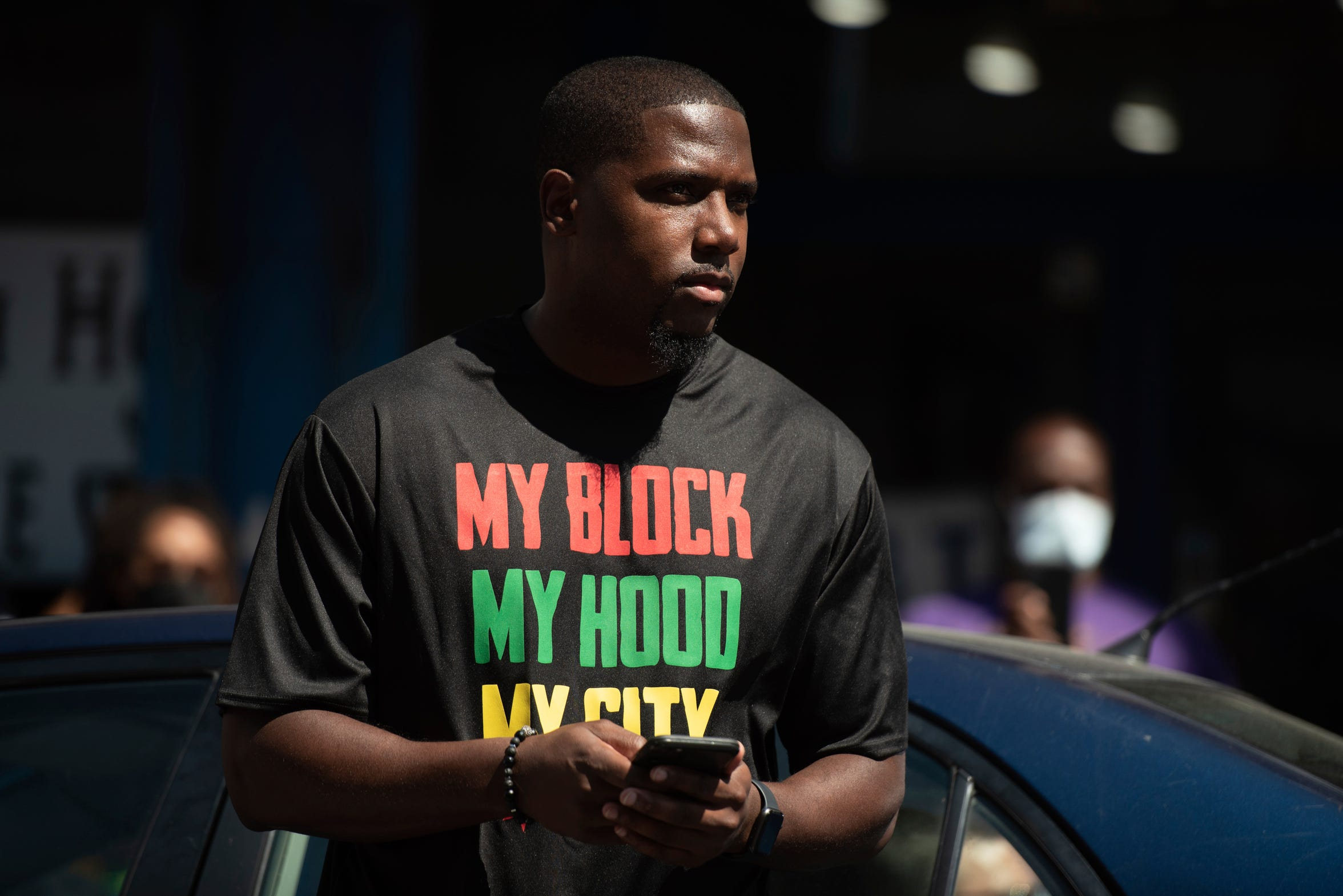 "Jahmal Cole, founder of My Block, My Hood, My City, speaks on Sunday, June 7, 2020, during a peace march and food give-away organized by his nonprofit group in Chicago. ""I feel there's ways we can resist constructively,"" he says."