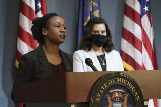 Dr. Joneigh S. Khaldun, Chief Medical Executive and Chief Deputy Director for Health for the Michigan Department of Health and Human Services, speaks during a press conference, Wednesday, June 17, 2020.