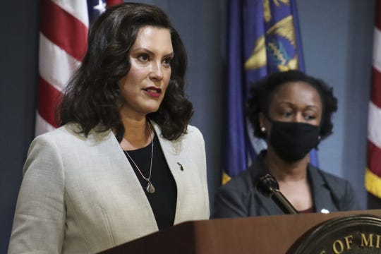 Michigan Governor Gretchen Whitmer speaks during a press conference, Wednesday, June 17, 2020.
