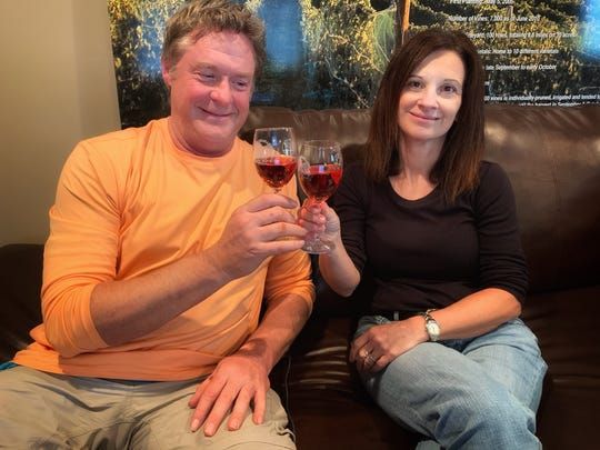 Steve Johnson and Maria Milano of Parallel 44 Winery in Kewaunee and Door 44 Winery in Sturgeon Bay. Milano said the winery emphasized online sales to help it survive the temporary closure of its tasting room and tours.