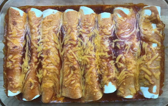 Easy Beef Enchiladas recipe from Old El Paso stretches a pound of ground beef for a family meal.