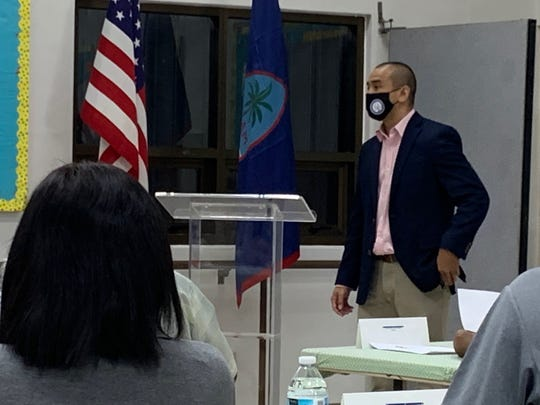 Attorney General Leevin Camacho addresses the Mayors' Council of Guam during a special meeting Wednesday morning at the Dededo senior citizen's center.