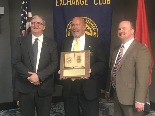 Richard Barber, the Jackson Exchange Club's Man of the Year for 2019, stops for a photo with Exchange Club officials Ron Whisenant and Gabe Mudd.