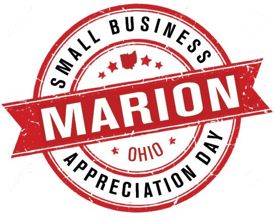 Marion City Council passed a resolution on May 26, 2020, declaring the third Saturday in June to be Marion Small Business Appreciation Day. This is the logo created for the event.
