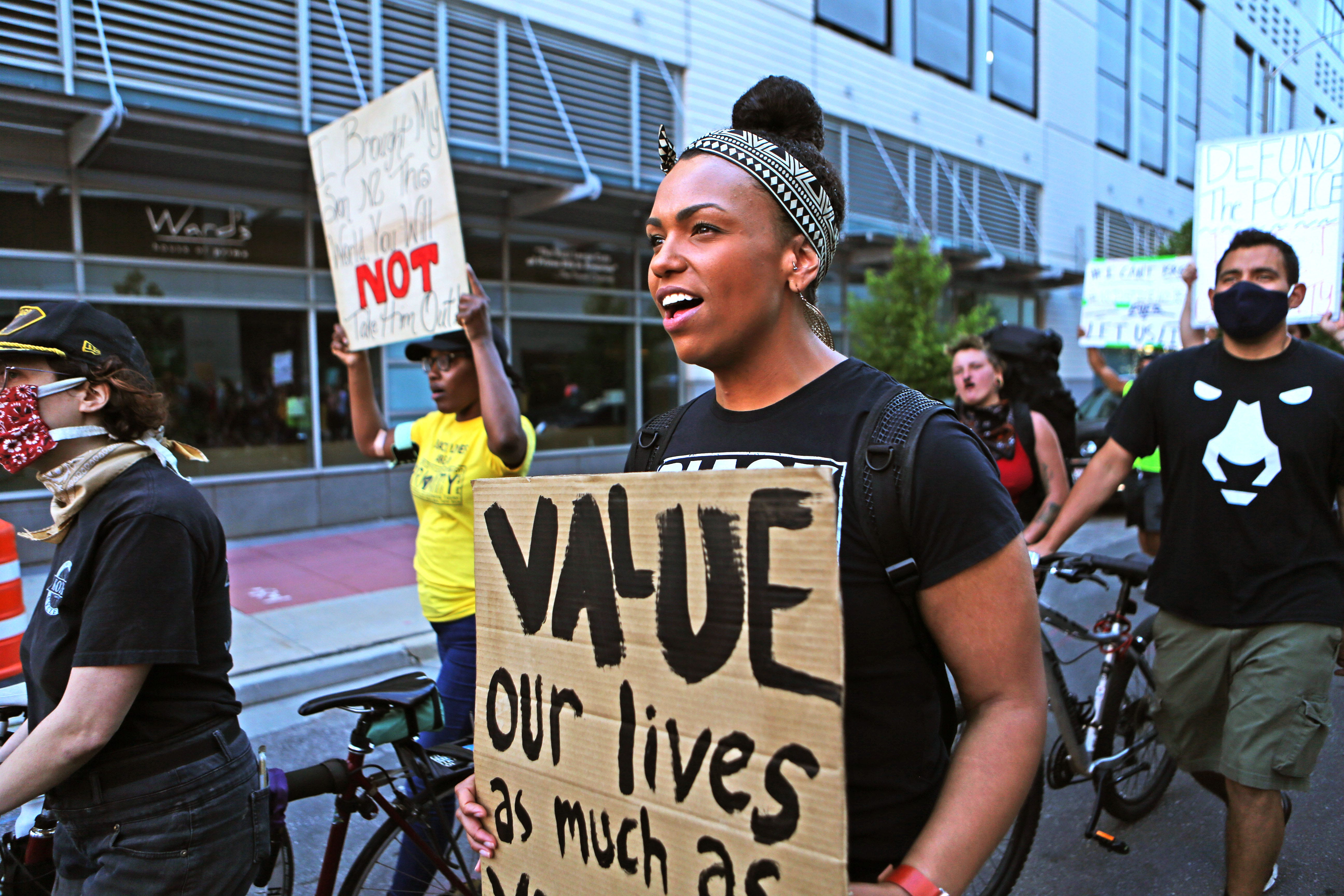 Jesse Ambos-Kleckley, 30, marches with others in downtown Milwaukee to bring attention to police brutality on June 16.