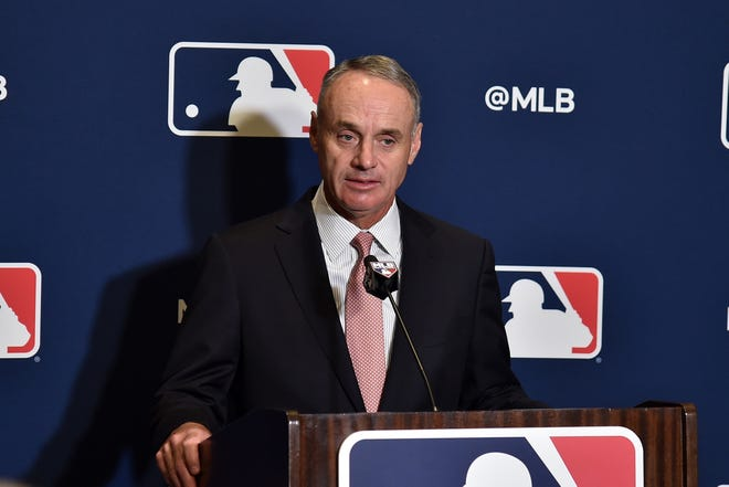 MLB commissioner Rob Manfred speaks during a news conference in West Palm Beach on Feb 17, 2019.