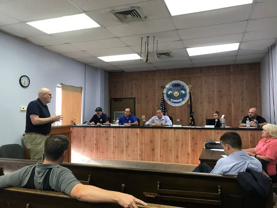 """Fiscal administrator I. M. """"Junior""""SheltonJr. talks to the Sterlington Board of Aldermen about proposed 2020 budgets at a special meeting on Tuesday."""