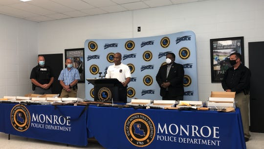HEAT Commander Scotty Sadler, ATF Liason Lieutenant Triche Passman, MPD Chief Reggie Brown, Mayor Jamie Mayo and Sgt Chuck Johnson at a Wednesday press conference discussing Operation Ceasefire.