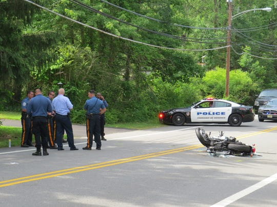 The scene of a motorcycle crash Wednesday afternoon on Parsippany Road in Hanover.