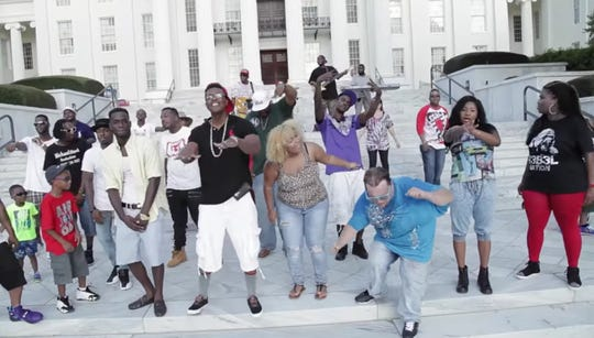 "A scene from the front steps of the Alabama State Capitol in the 2015 music video for the song ""My City."" The song has been re-released, and a sequel is planned for this year."