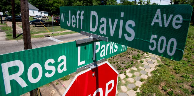 West Jeff Davis Avenue internets with Rosa Parks Avenue in Montgomery, Ala., as seen on Wednesday June 17, 2020. West Jeff Davis Ave. is named for confederate president Jefferson Davis.