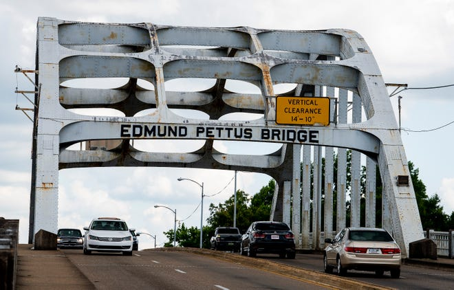 The Edmund Pettus Bridge located in Selma, Ala., famous for Bloody Sunday and the Selma to Montgomery March, is seen on Tuesday June 16, 2020. The bridge is named for Edmund Pettus, a politician, confederate officer and Ku Klux Klansman.
