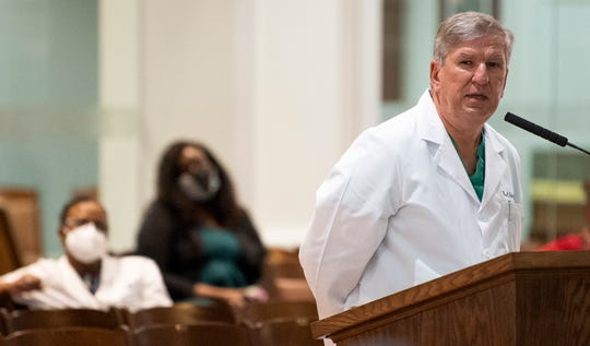 Dr. Bill Saliski speaks as the city council debates the mandatory mask ordinance in the city council meeting at city hall in Montgomery, Ala., on Tuesday June 16, 2020.